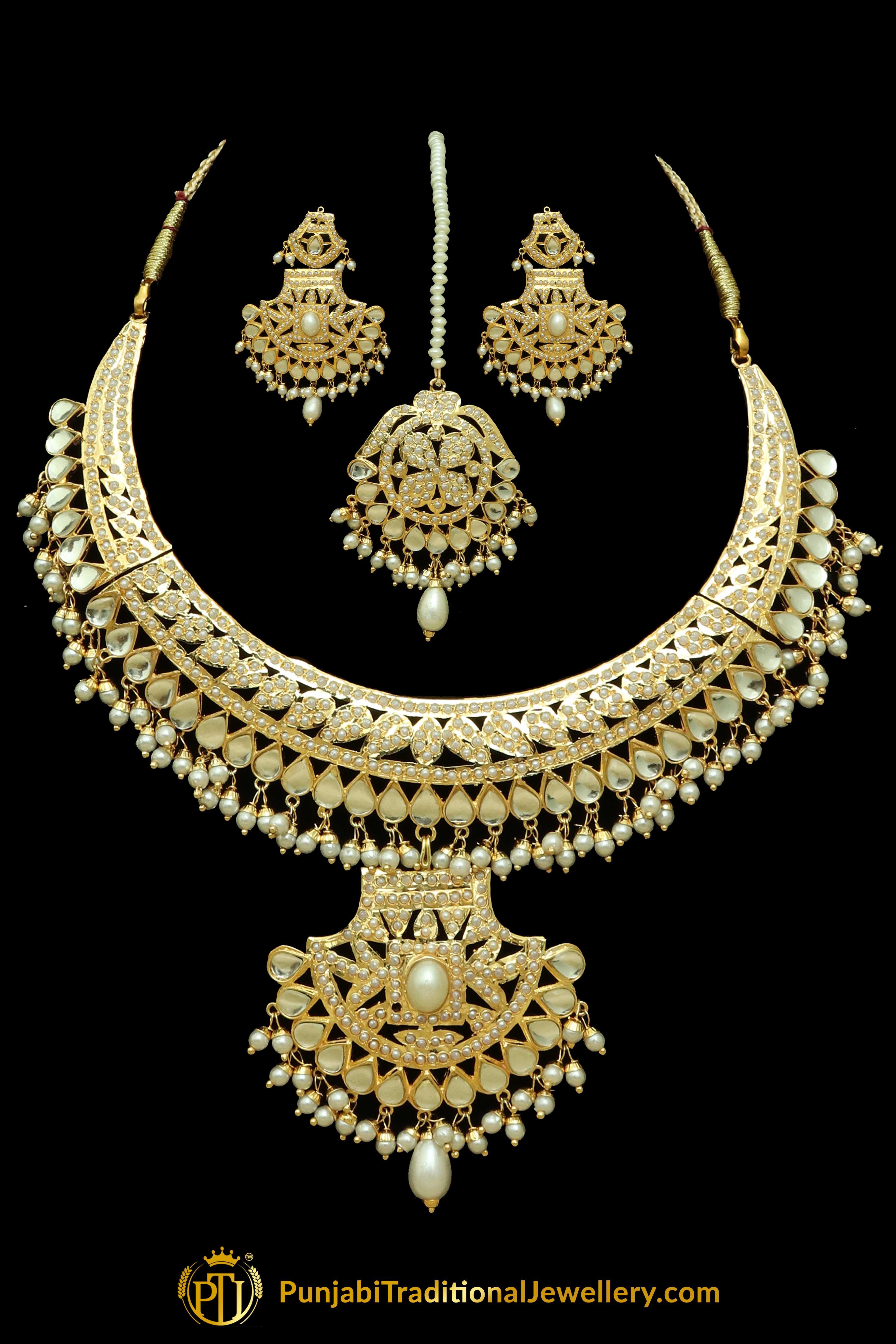 Kundan pearl jadau necklace set necklace set punjabi