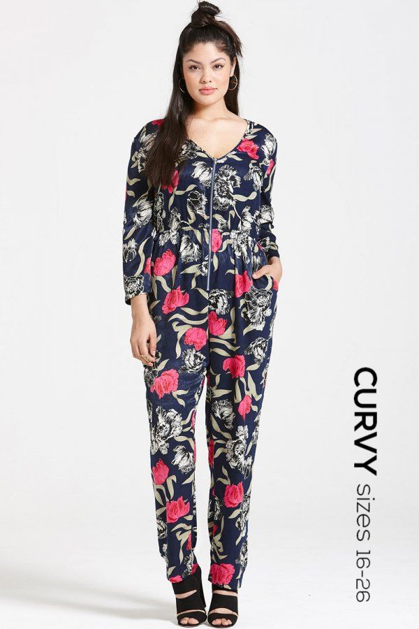 14b9b53a58 Girls On Film Curvy Navy Floral Print Jumpsuit - Girls On Film Curvy from Little  Mistress UK