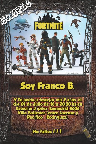 Fortnite Birthday Invitations Fortnite Characters Birthday Invitations Cumpleaños in 2019