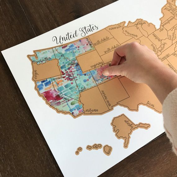 Holiday Sale Free Shipping - Watercolor Scratch Off Map - Teal ...