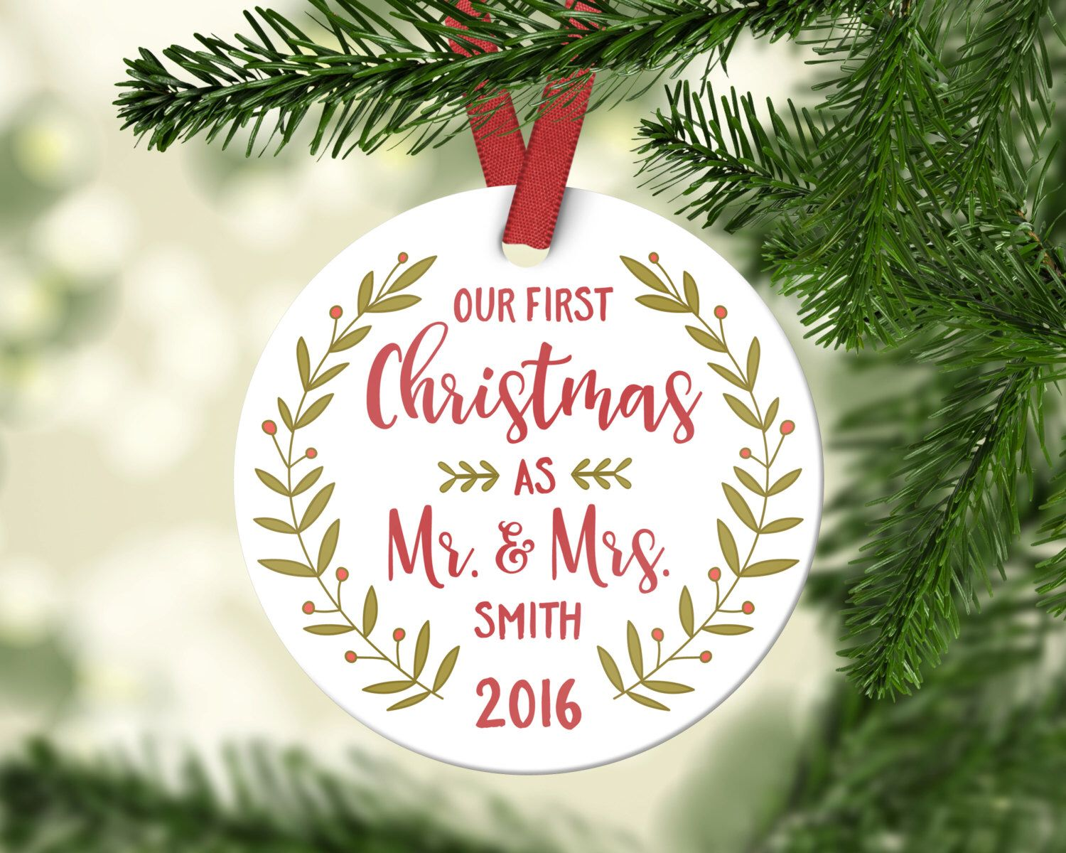 Wedding Gifts First Christmas Ornament Married Wedding Ornaments ...