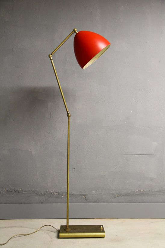 Brass And Enameled Metal Floor Lamp 1950s Red Floor Lamp Brass Floor Lamp Modern Floor Lamps