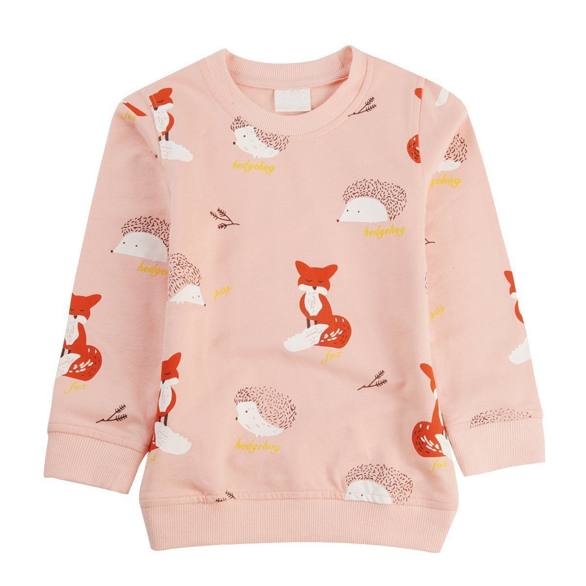 Toddler Girls Sweatshirt 100/% Cotton Crewneck Cute Cartoon Print Pink Sweatshirts Pullover Tops 2T