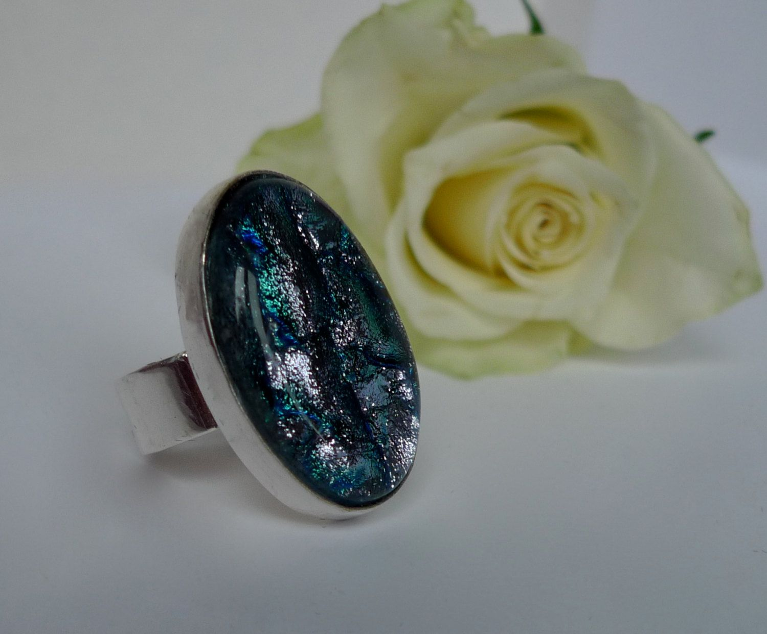 Fused glass oval ring by firedimagination on etsy fused