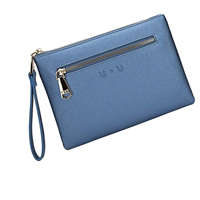 Womens Soft Leather Wristlet Clutch With Rechargeable Power Bank