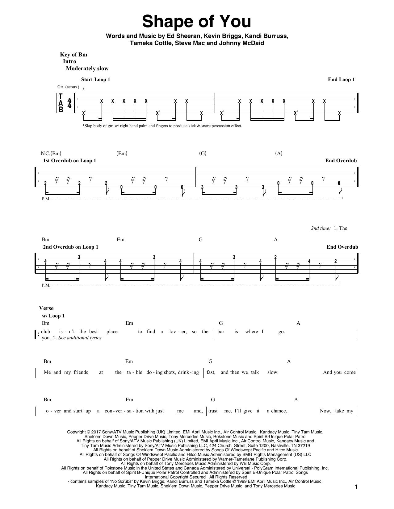 Ed Sheeran Shape Of You Guitar Tabs Guitar Chords Beginner Tablature