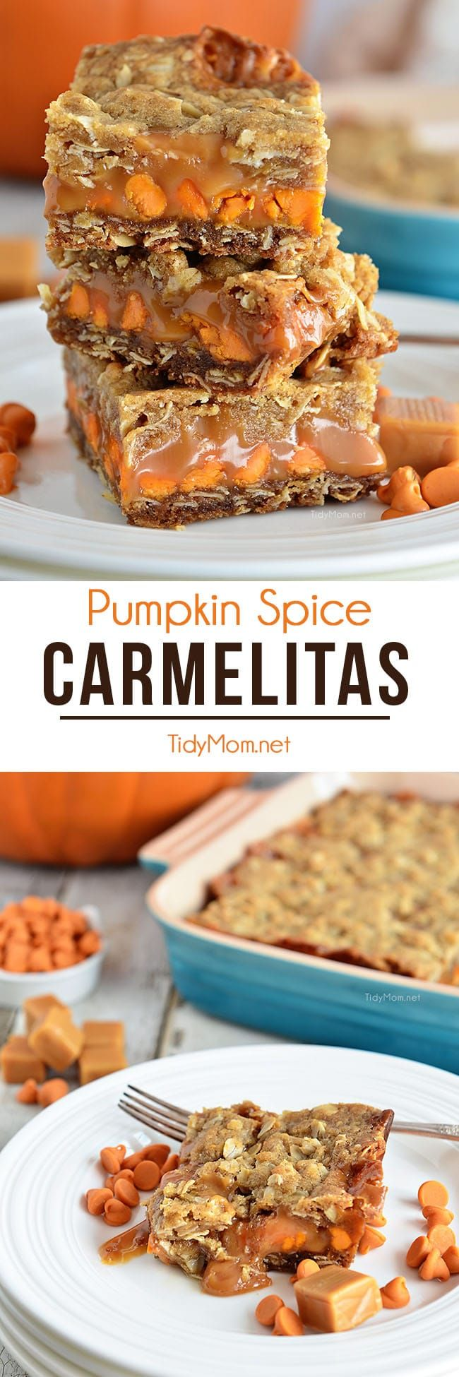 Pumpkin Spice Carmelita Bars Whether for dinner guests, anafter-school snack, or even a late-night treat, these Pumpkin Spice Carmelita Barsare the perfectway to satisfy a sweet tooth. Find the printable recipe + how-to video at