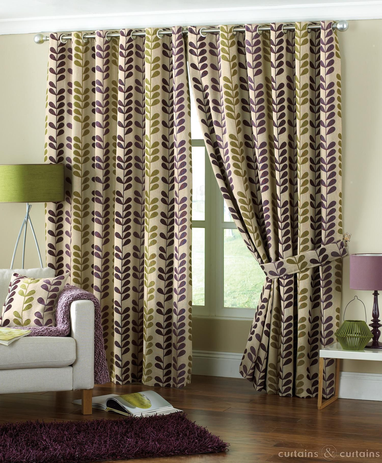 Aubergine Purple Green Rhythm Heavy Chenille Eyelet Curtain