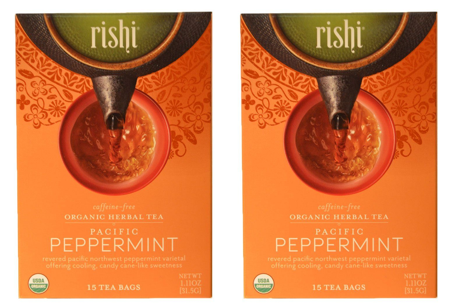 Rishi Caffeine-Free USDA Organic Herbal Tea Pacific Peppermint Certified Kosher 15 Tea Bags - 1.11 oz (2 Pack) -- Awesome products selected by Anna Churchill