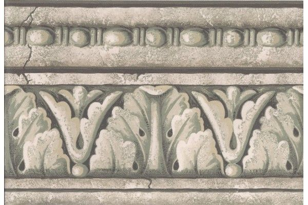 Green Grey White Stone Column Molding Wallpaper Border