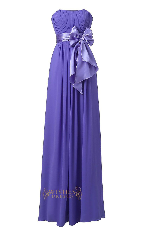Lavender strapless sweetheart floor length bridesmaid dress for