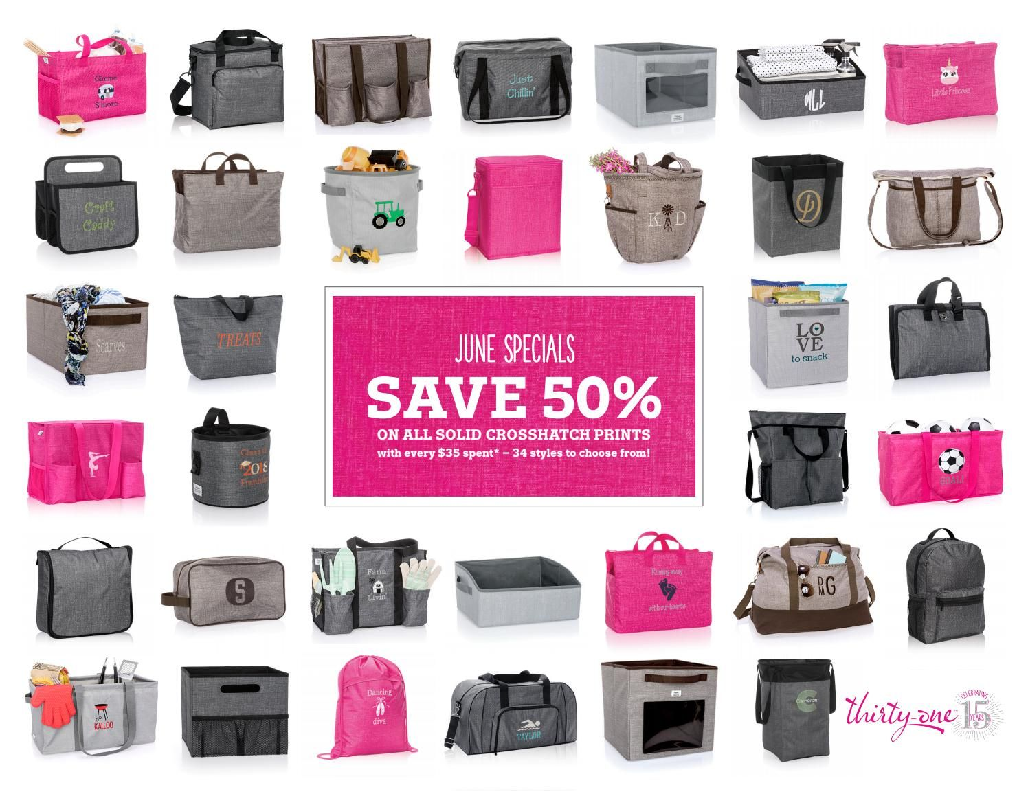 Thirty One Christmas In July 2020 Thirty One 2018 June Customer and Hostess Specials   Thirty one