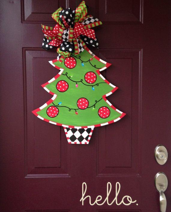 Christmas Tree Hand Painted Wooden Door By Beccasfrontdoordecor