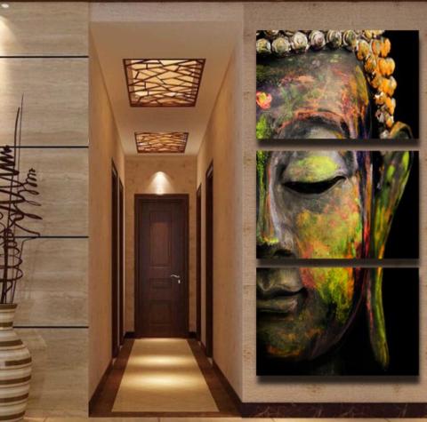 3 Piece Buddha Oil Painting Wall Art 3 Sizes Buddha Wall Art Buddha Wall Canvas Wall Art Painting