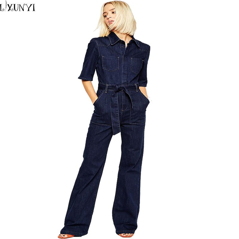 87cfc1f3cc5 Europe 2017 Denim Overalls Women Fashion Handsome lacing Slim Half Sleeve  Tooling Denim jumpsuit Casual Rompers for women - Costbuys