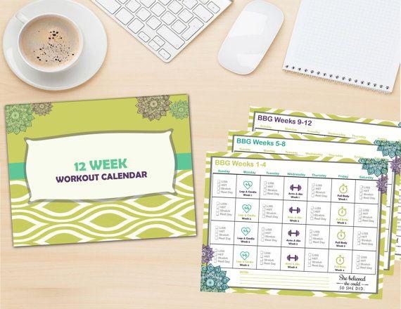 BBG Workout Calendar (Printable) Workout calendar printable, Bbg