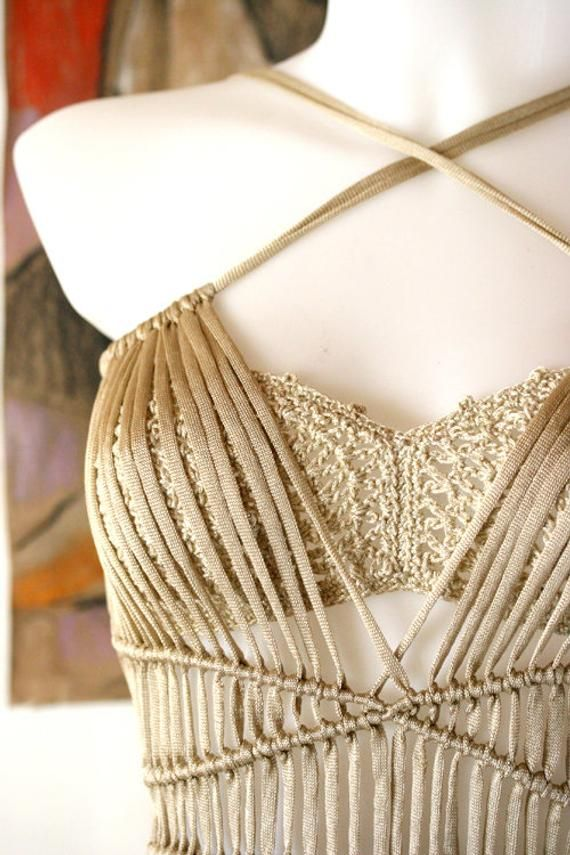 Gold Macrame dress & bikini, festival clothing women, festival outfit, Coachella outfit, burning man clothing, Goddess dress, rave outfit