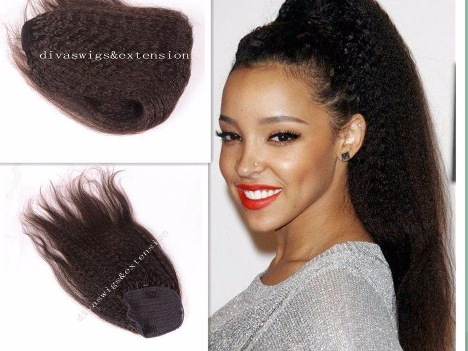 120g Kinky Straight Virgin Hair Ponytail Extension Natural Ponytail