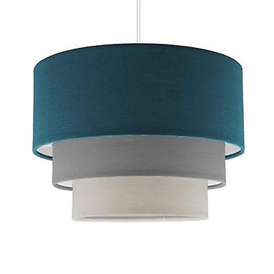 Modern teal grey white 3 tier ceiling light pendant shade drum modern teal grey white 3 tier ceiling light pendant shade drum lampshade home aloadofball Choice Image