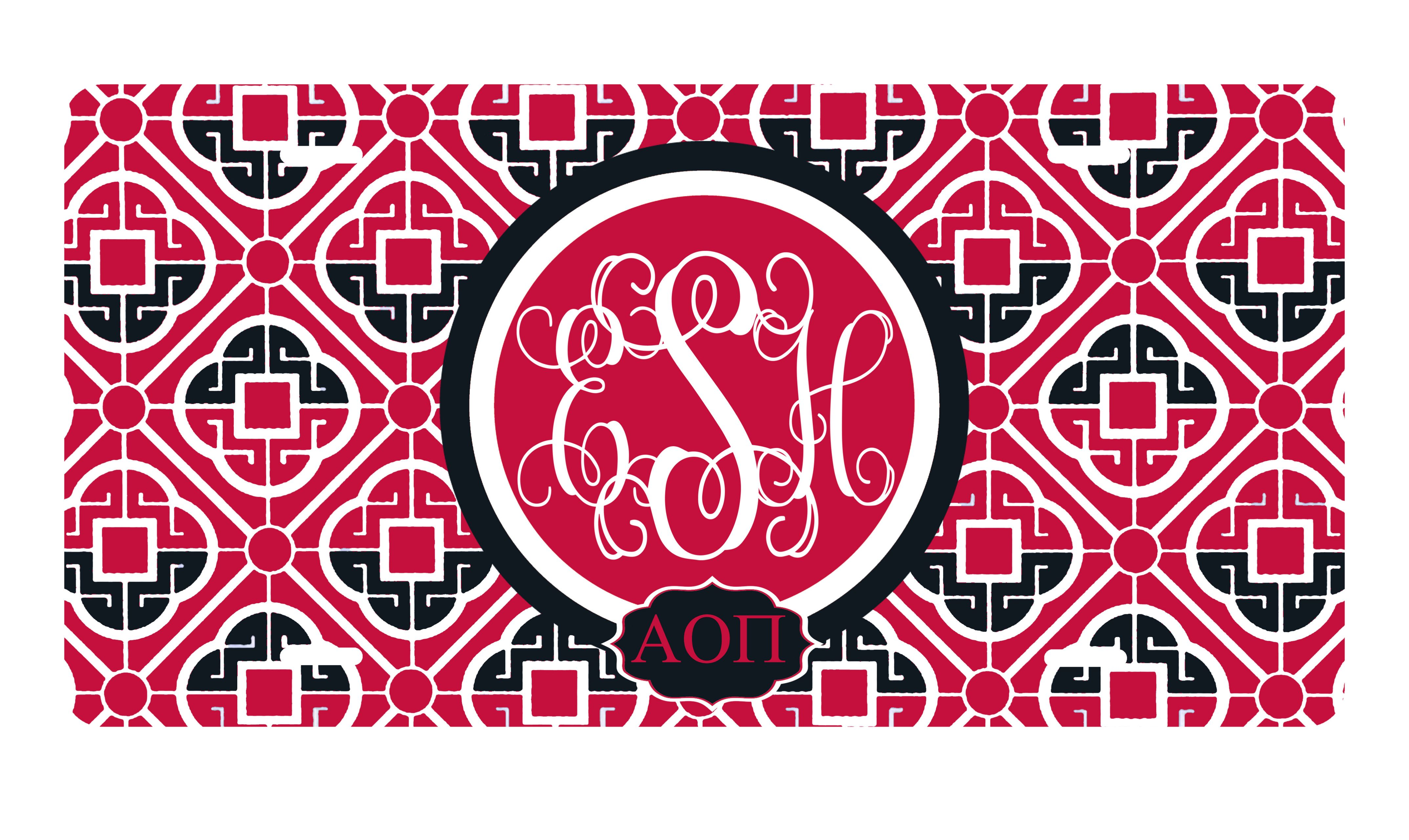 Alpha Omicron Pi Sorority License Plate monogrammed and personalized ...
