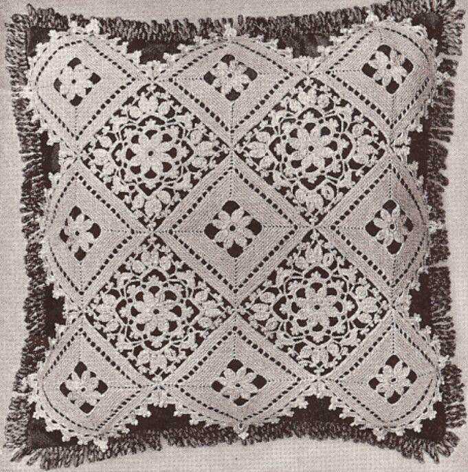 Vintage Crochet PATTERN to make Block Lace Flower Bedspread Motif ...