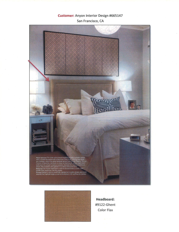 Customer Anyon Interior Design SF Pindler & Pindler Headboard Fabric  #9122-Ghent, color
