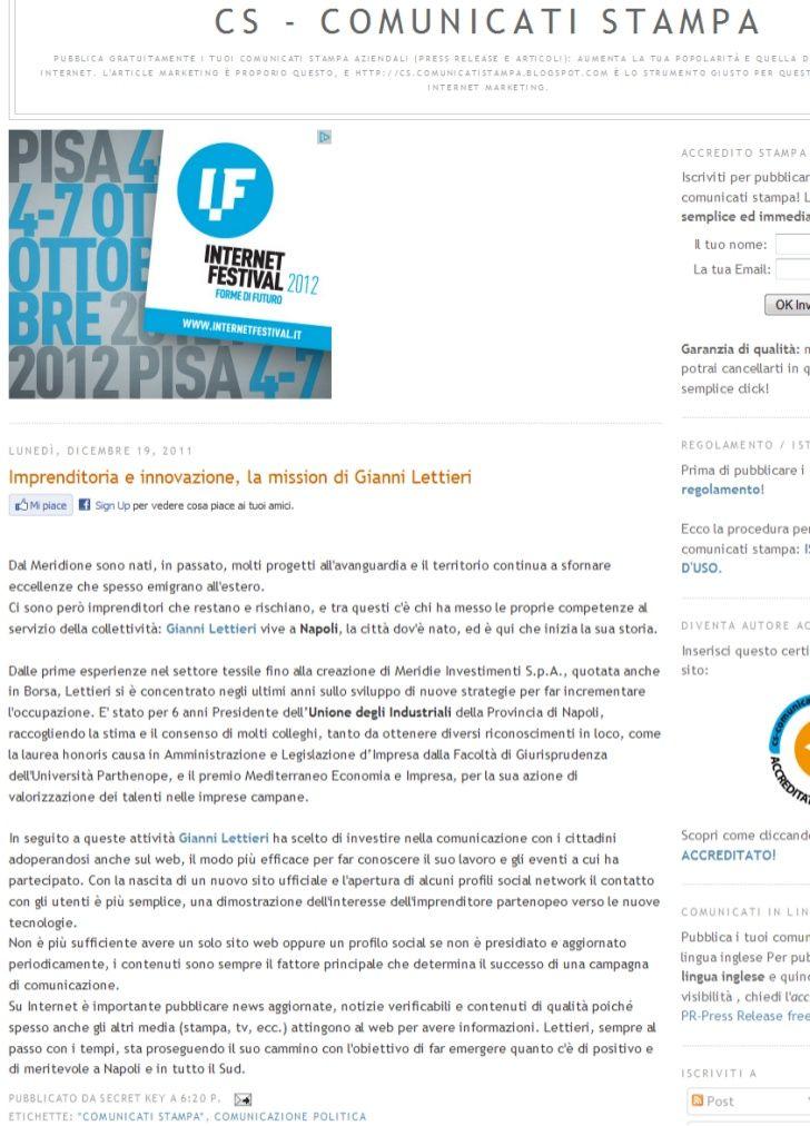 I Vari Progetti Dell Imprenditore Napoletano Gianni Lettieri Sul Progresso Dell Imprenditoria Tramite Il Web Con Va