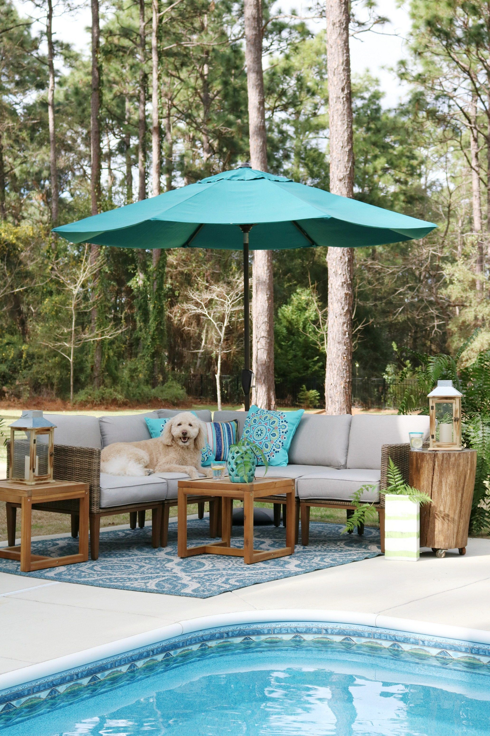 Poolside Labradoodle Murphy Patio Furniture From Better Homes Gardens At Love The Aqua Accents And Neutral Seating Mixed With Wood Tables