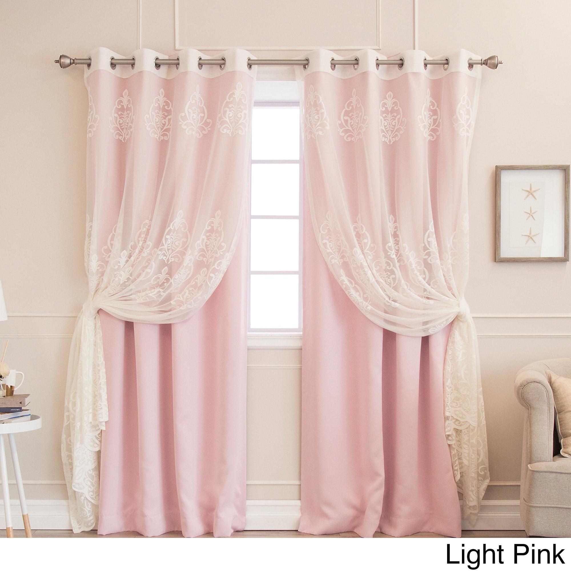 Aurora Home Mix Match Agatha Sheer And Blackout 4 Piece Curtain