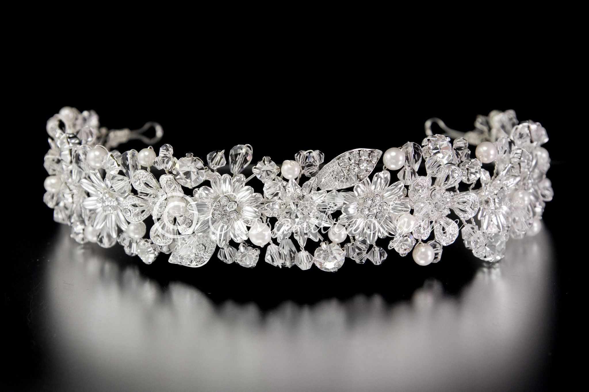 Wedding accessories pearls flowers pearls - Wedding Headpiece Silver Flowers Pearls Jewels And Crystals