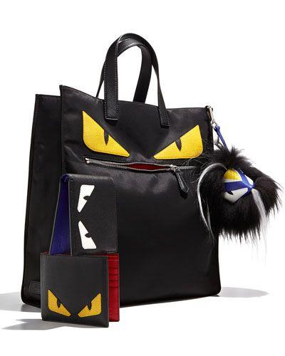 Fendi Monster Creature tech-fabric tote bag. Leather trim  silvertone  hardware. Flat tote handles a3e8396e570e