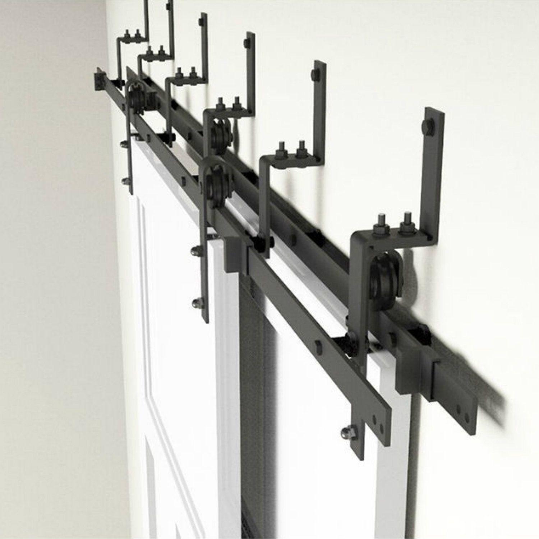 5 16ft Rustic Black Steel Bypass Barn Door Hardware Wall Mount