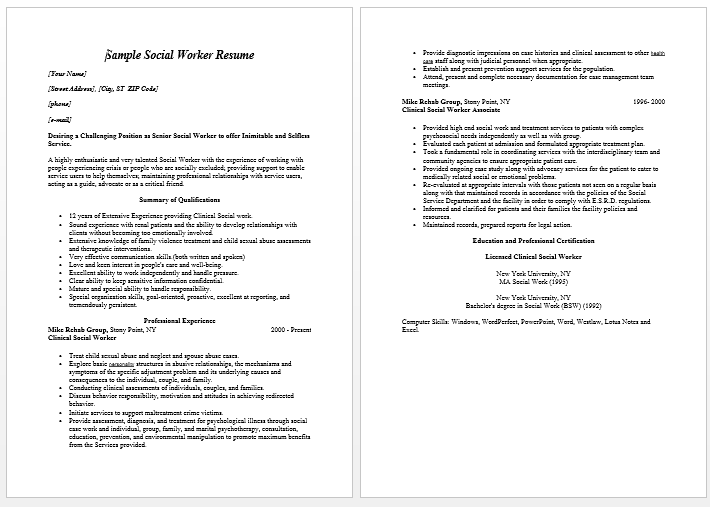 sample resume social worker accomplishments sle achievement format