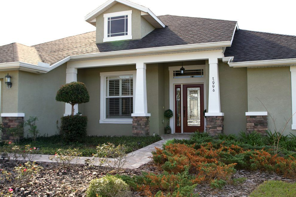 Green Stucco Exterior Exterior Craftsman With Craftsman Columns