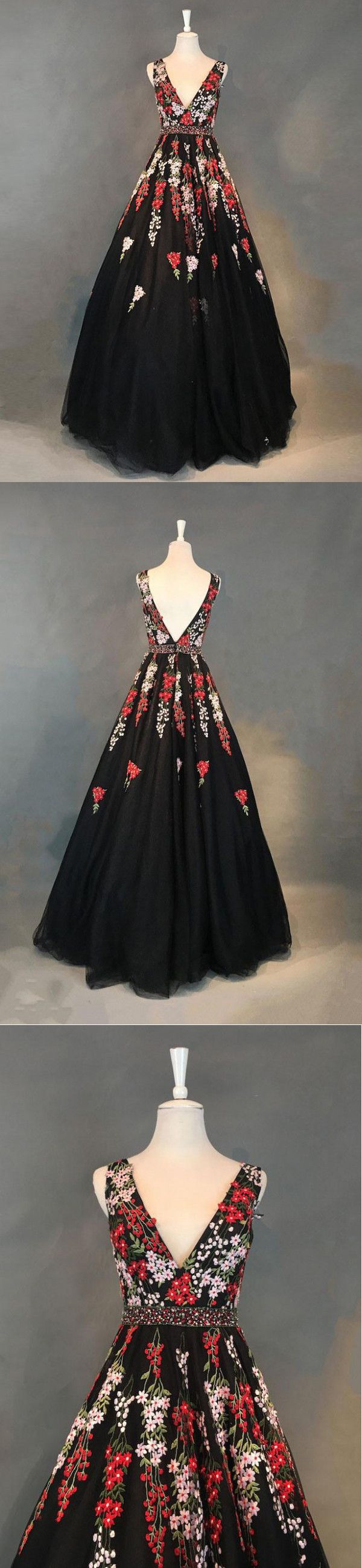 black floral prom dress vintage v neck prom dress vb in