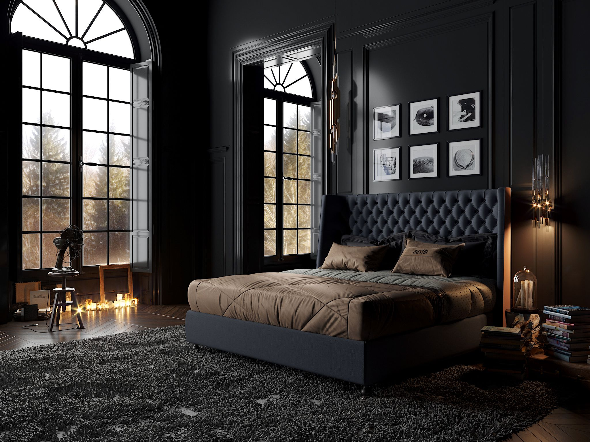 "Best 查看此 Behance 项目 ""Classic Black Bedroom""Https Www Behance 400 x 300"