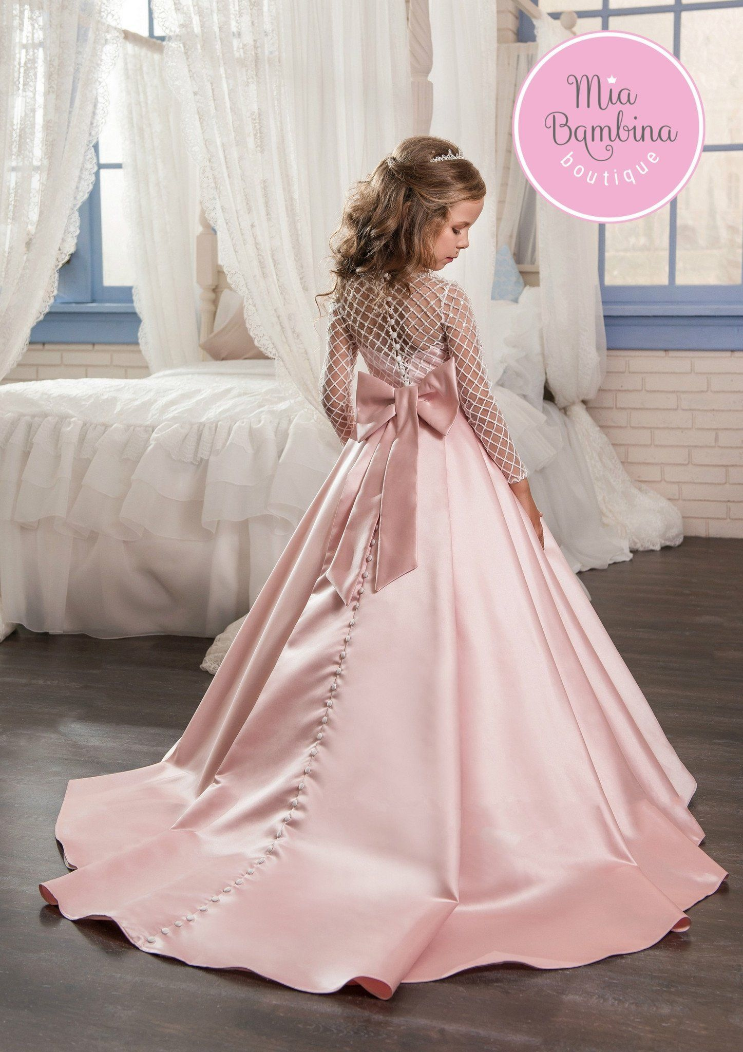 This chic Toronto flower girl dress is a long satin ball