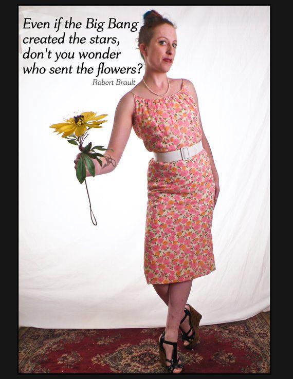 1960's Pink & Orange Floral Wiggle DRESS by sideshowsam on Etsy, $68.00