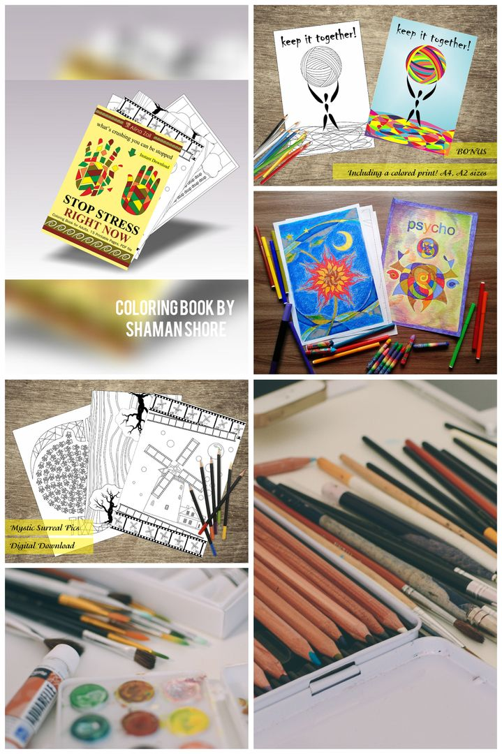 Creative Art Therapy Activity Stress Relief Adult Coloring Book Pages Pdf Printable Sheets