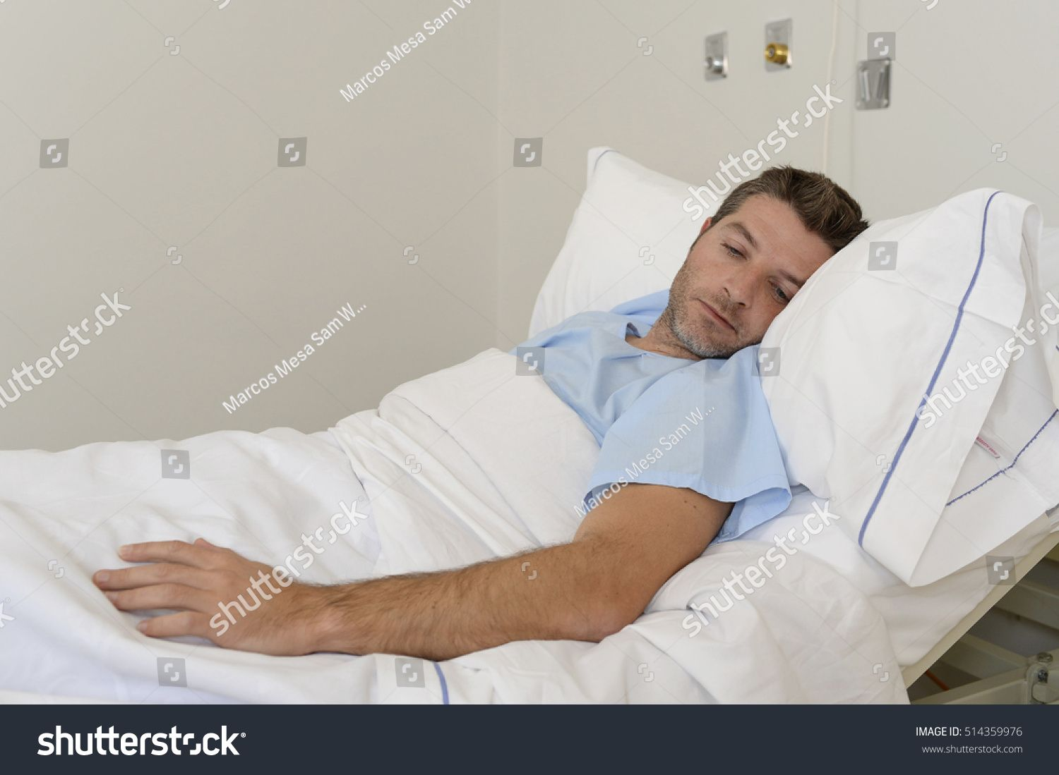 Young Patient Man Lying Hospital Bed Stock Photo 514359976
