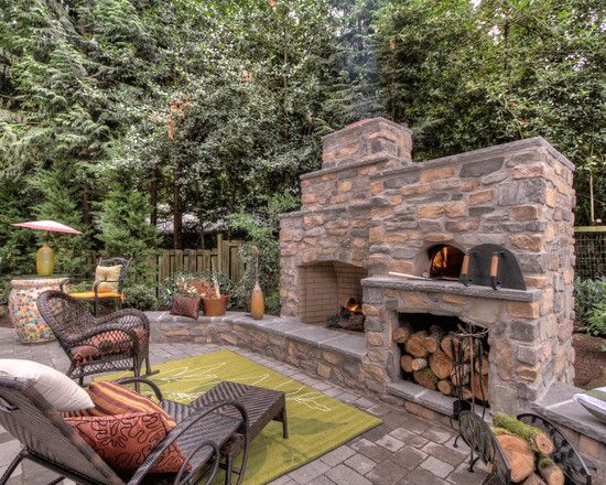 Outdoor fireplace with pizza oven backyard Pinterest Oven