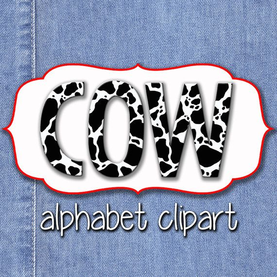 Cow Print Alphabet Clipart, Cow Spots Alphabet, Printable Cow Print