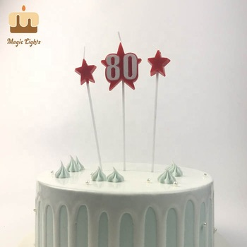Number 80 Star Birthday Candle Set Products, View number 80 candle, Magic Lights…