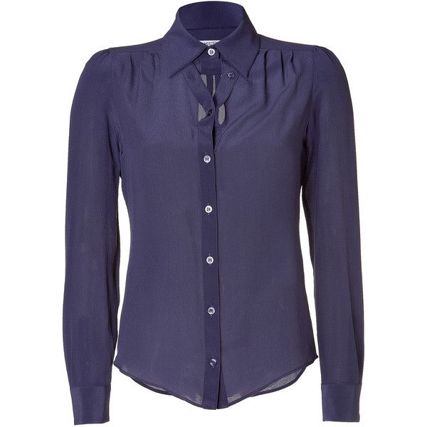 MOSCHINO C Plum Silk Blouse ❤ liked on Polyvore