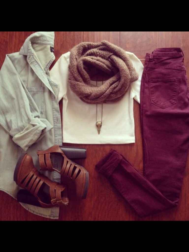 Flannel shirt trend  A cute white crop top and maroon jeans with a cute jean shirt and a