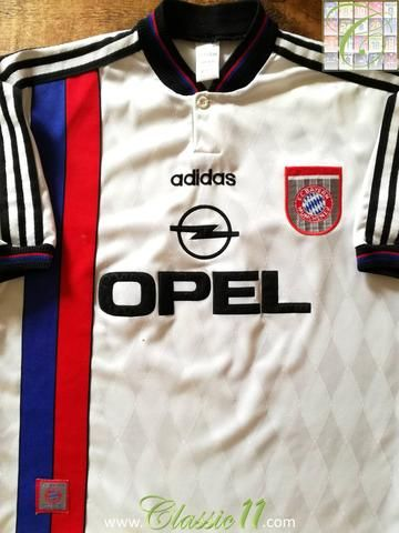 Official Adidas Bayern Munich away football shirt from the 1995 1996 season. 26a896469c708