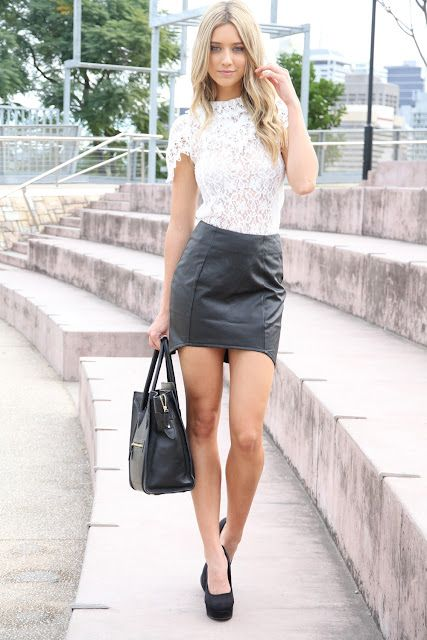 9135541da3 lace shirt   leather skirt Love lace and love leather but maybe not this  exact outfit