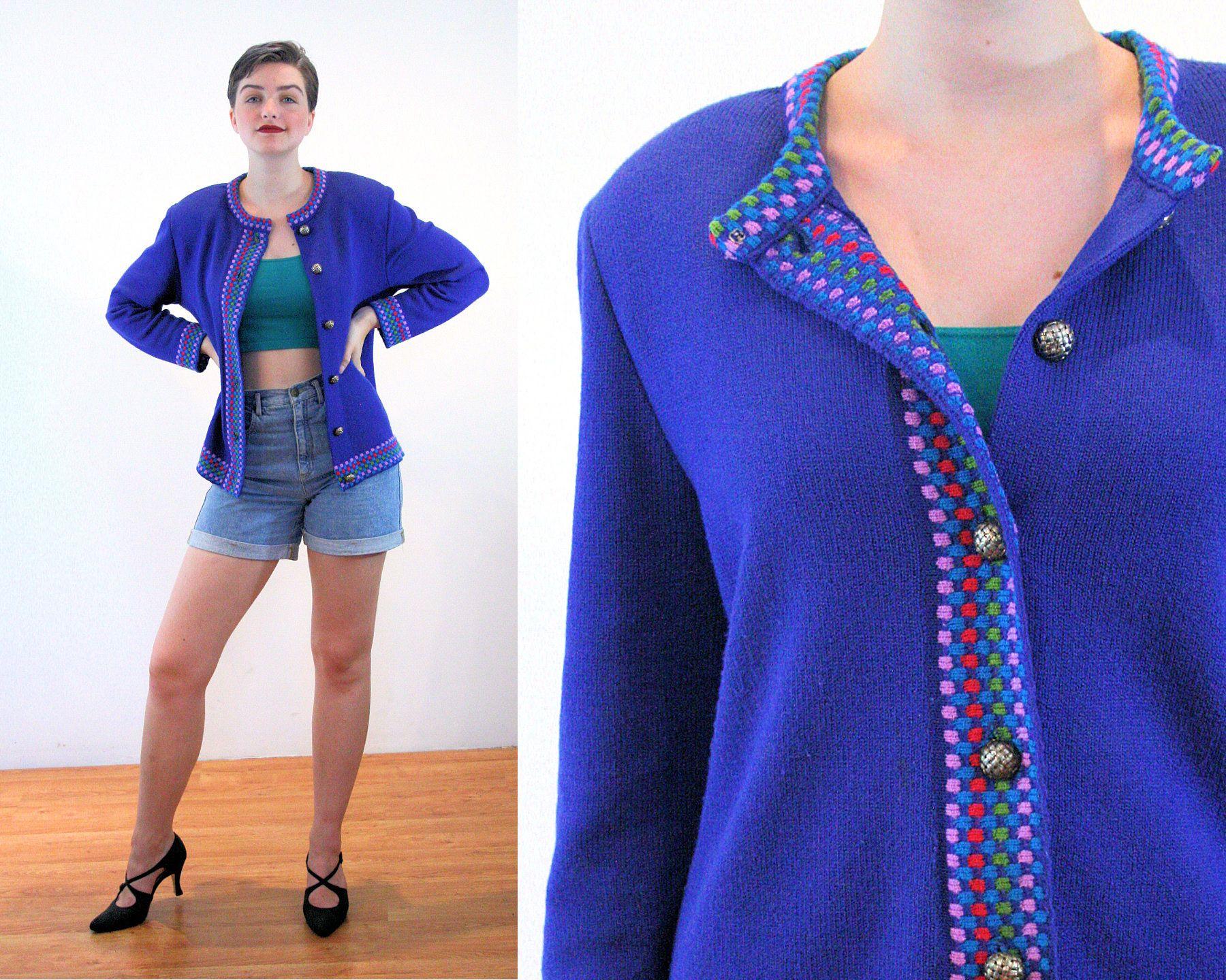 Vintage 80s Wool Wrap Cardigan SM  Brown Blazer Sweater