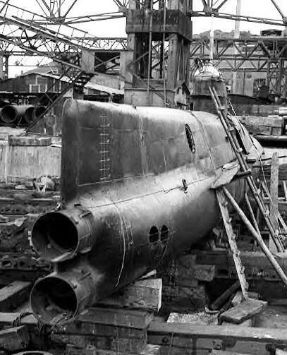 A Ha.19 midget attack submarine that was under construction now idle at wars end.