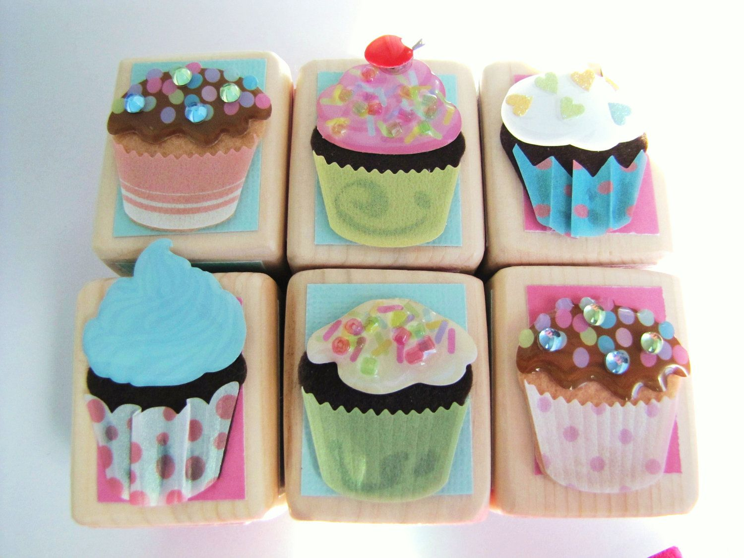 Cupcake Baby Shower Decor Wood Blocks Spring Nursery Room Pink Sparkly Fun Toy Party Decoration